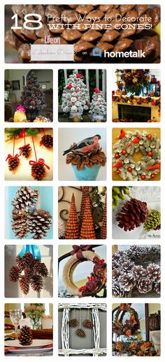 Eighteen Pretty Ways to Decorate with Pine Cones (Life on Lakeshore Drive) Eighteen Pretty Ways to D Pine Cone Art, Pine Cone Crafts, Christmas Projects, Pine Cones, Fall Crafts, Holiday Crafts, Holiday Fun, Crafts For Kids, Noel Christmas