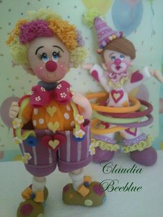 palhaços em biscuit Claudia Beeblue