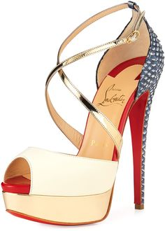 Christian Louboutin Cross Me Snakeskin & Leather Red Sole Sandal    | ≼❃≽ @kimludcom