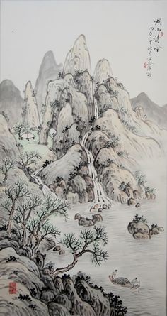 A Light Song from the Lake. Chen Jun (1935-), 1996  Hanging scroll, Ink and color on paper; 67 x 29 in with mounting