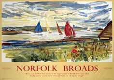 This Norfolk Broads Art Print is created using state of the art, industry leading Digital printers. The result - a stunning reproduction at an affordable price. Norfolk Broads - By Rail Posters Uk, Train Posters, Railway Posters, Locomotive, British Travel, Travel Uk, Spain Travel, Travel Style, Countryside Village
