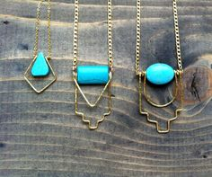 Turquoise teardrop / geometric brass and gemstone by bluetribe. Explore more products on http://bluetribe.etsy.com