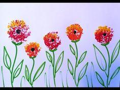 Dandelion Cotton Swabs Painting Technique For Beginners