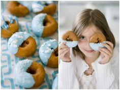 Pretty icing-dipped donuts/sufganiyot for Hanukkah. Hanukkah Food, Happy Hanukkah, Jewish Hanukkah, Blue Donuts, Donuts Donuts, Holiday Parties, Holiday Desserts, Holiday Fun, Winter Holidays