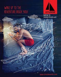 Crusoe Mens Innerwear Campaign by Meraki by Namrata + Shruti Creative Advertising, Advertising Poster, Advertising Campaign, Advertising Design, Ads Creative, Magazine Ads, Magazine Design, Magazine Layouts, Mens Innerwear