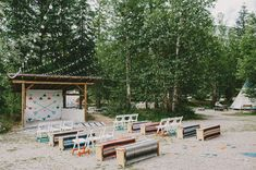 Colorful camp mountain ceremony site