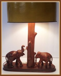 Vintage Wooden Elephant Lamp Lights Carved Weighs by bettysworld4u