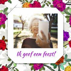 Uitnodiging selfie bloemen 1 RB, verkrijgbaar bij #kaartje2go voor €1,89