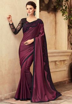 Here Is A Beautiful Royal Looking Sari Paired With Matching Blouse. This Sari And Blouse Are Beautified With Fancy Embroidery. Satin Saree, Silk Lehenga, Art Silk Sarees, Plain Lehenga, Designer Silk Sarees, Designer Sarees Online, Bollywood Designer Sarees, Indian Dresses, Indian Outfits