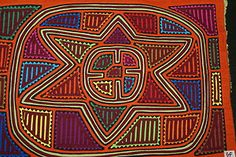 Kuna Folk Art Mola Hand stitched Applique Geometric Abstract North Star Sky 38A. If you wish to receive the research I conduct on molas or wish to see more molas available, email us at cheetahdmr@aol.com. Asmatcollection on ebay and bonanza.com