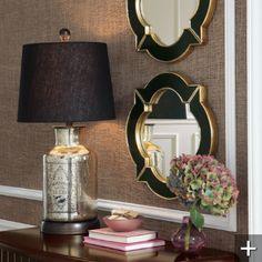 Montagne Lamp, Quatrefoil Enamel Mirrors, Hydrangeas, Grasscloth Wallcovering.