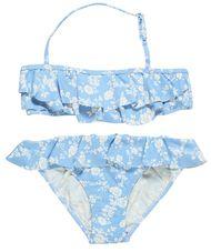 Light Blue Floral Ruffled Bikini for Girls