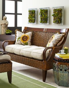 A wide, gently curved back and flared rattan pole armrests leave plenty of wiggle room for two. Personalize it with your favorite cushions and pillows.
