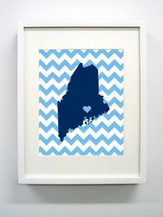 Orono Maine State Giclée Print  8x10  Blue by PaintedPost on Etsy, $15.00 #paintedpoststudio - University of Maine - Black Bears- What a great and memorable gift for graduation, sorority, hostess, and best friend gifts! Also perfect for dorm decor! :)