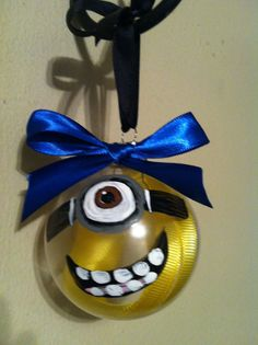Glass Ornament, Christmas Decor, Ornament, Minion Ornament Love it! Christmas Projects, Holiday Crafts, Holiday Fun, Christmas Ideas, Christmas Goodies, Christmas Stuff, Favorite Holiday, Noel Christmas, Glass Christmas Ornaments