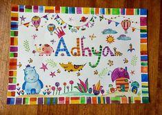 Nursery art, Nursery watercolor name art, customised name art, wall art, kids room decor, Illustration, nursery animals, personalized art