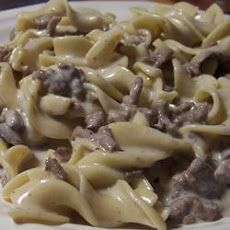 Simple Beef Stroganoff Recipe Main Dishes with egg noodles, ground beef, condensed cream of mushroom soup, garlic powder, sour cream, pepper, salt