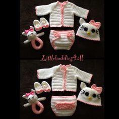 Crochet Hello kitty baby 5 piece sweater set.  Facebook/littlebuddies4all