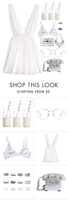 """""""white teeth"""" by bluejeanssss on Polyvore featuring CASSETTE, Dress My Cupcake, Linda Farrow, H&M and Retrò"""