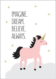 This 'Dream Unicorn' print or canvas is the perfect addition to any little girls room or nursery! Unicorn And Glitter, Real Unicorn, Unicorn Art, Magical Unicorn, Rainbow Unicorn, Image Deco, Unicorn Quotes, Unicorn Pictures, Unicorn Images
