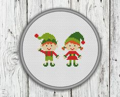 Christmas Elves Counted Cross Stitch Pattern by CrossStitchShop