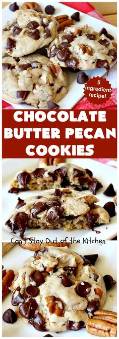 Chocolate Butter Pecan Cookies Can t Stay Out of the Kitchen Pecan Recipes, Cake Mix Recipes, Best Cookie Recipes, Dessert Recipes, Butter Pecan Cookies, Cake Mix Cookies, Yummy Cookies, Chip Cookies, Baking Cookies