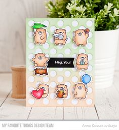 Stamps: Bitty Bears Die-namics: Bitty Bears, Blueprints 29, Peek-a-Boo Polka Dots  Anna Kossakovskaya  #mftstamps