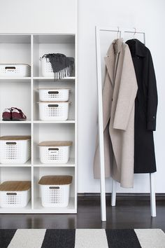 White SmartStore Baskets with bamboo lids