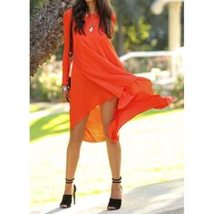 GearCloset.net - Simple Round Neck Long Sleeve Solid Color Chiffon Asymmetrical Women s Dress