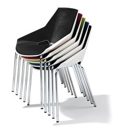 Viva is a geometrical chair designed in vivid colours and very easy to store as the four legged version is stackable up to 5 chairs. Its attractive design is perfect to create a young environment and feel relaxed.  #furniture #meeting #chairs Stackable Chairs, Chair Design, Vivid Colors, Outdoor Chairs, Conference Room, Environment, Meeting Rooms, Garden Chairs