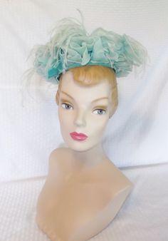 Clearance 50's 60's Vintage Seafoam Green Hat by MyVintageHatShop