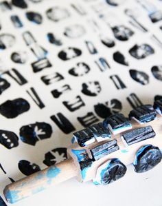 rolling pin + craft foam = custom rolling stamp
