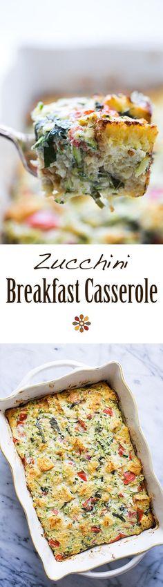 Zucchini Breakfast Casserole ~ Savory zucchini casserole with eggs, ricotta cheese, Parmesan, plum tomatoes, bread, and basil. Zucchini ricotta strata. ~ http://SimplyRecipes.com