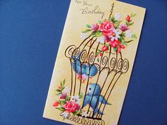 Vintage Birthday Card Clean Unused With White Envelope A Sunshine Card Feminine Blue Bird Pink Floral Yellow Background