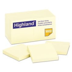 Self-Stick Notes, 3 X 3, Yellow, 18 100-Sheet Pads/pack