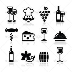 Wine Icons Set - Glass, Bottle, Restaurant, Food  #GraphicRiver         Black modern wine icons set with reflection   FEATURES :   100% Vector Shapes  All groups have names  All elements are easy to modify – you can change coulours, size  Pack include version AI, EPS       Created: 30November12 GraphicsFilesIncluded: VectorEPS #AIIllustrator Layered: Yes MinimumAdobeCSVersion: CS Tags: alcohol #bar #barrel #black #bottle #bottleopener #celebrate #cheese #chef #corkscrew #cuisine #drink…