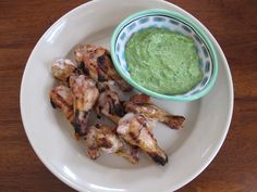 Grilled Chicken Wings with Jalapeno Yogurt Dip
