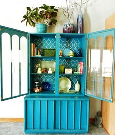 upcycled painted hutch by booth 121