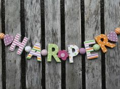 HARPER  WOODEN LETTERS NAME DECORATION PERSONALISED SHABBY CHIC BABY NURSERY