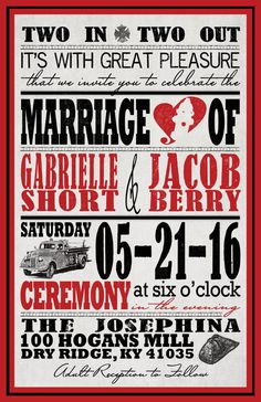Vintage Firefighter Poster Custom Wedding by InvitingMoments