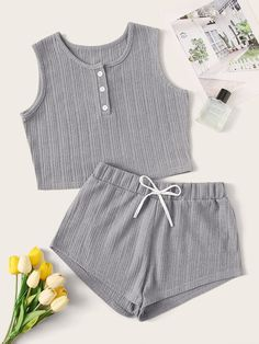 To find out about the Solid Half Button Drawstring PJ Set at SHEIN, part of our latest Lounge Sets ready to shop online today! Girls Fashion Clothes, Teen Fashion Outfits, New Outfits, Girl Fashion, Summer Outfits, Girl Outfits, Cute Outfits, Cute Pajama Sets, Cute Pjs
