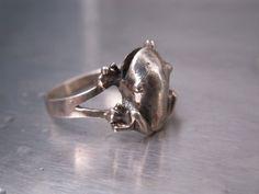 Vintage Ring Frog Sterling Silver