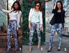 Paired with different tops and accessories, floral jeans can work from day to night