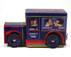 """Vintage Tin Truck/Box, and Music Box - Hersey's Kisses, Plays """"My Favorite…"""