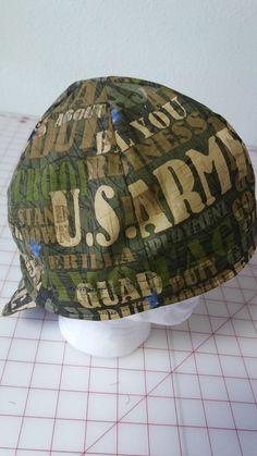 dac0c61f054 Welders Hat Welding Cap US Army Print Fabric 7 1 2 Pipefitter Biker Doo Rag