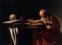 St Jerome, Oil by Caravaggio (Michelangelo Merisi) Italy)Saint Jerome Writing, also called Saint Jerome in His Study or simply Saint Jerome, is an oil painting by Italian painter Caravaggio St Jerome, Chiaroscuro, Baroque Painting, Baroque Art, Italian Baroque, Italian Painters, Italian Artist, Rembrandt, Michelangelo Caravaggio