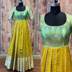 Pattu saree blouse designs - whats app orMail tejasarees com 2 Kalamkari Dresses, Ikkat Dresses, Choli Dress, Saree Gown, Kurti Designs Party Wear, Kurta Designs, Anarkali Dress Pattern, Long Gown Dress, Long Frock