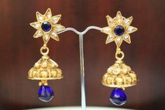 Indian-Bollywood-Traditional-Jhumka-Jhumki-Earring-Jewellery-Navy-Blue-Stone-82