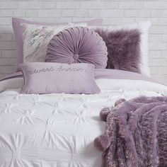 Round we go. Round out your pillow collection with our newest favorite. The circular, pleated velvet design is new and different – just what you need to freshen up your space. Room Ideas Bedroom, Dream Bedroom, Bedroom Decor, Lilac Room, Purple Bedrooms, My New Room, Girl Room, Room Inspiration, Round Pillow