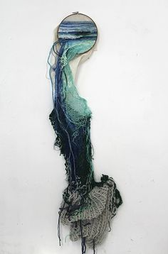 By the use of embroidery and knitting in her work Ana Teresa Barboza yearns to create a parallel between the process of manual crafts and creating and natures process. She contrasts the two, by creating structure with yarn which resemble the threads of a plant and similar structures. The knitting in her work brings her closer to nature and by taking us by the hand and showing us her world, she provides us the chance to see structures from a different point of view.